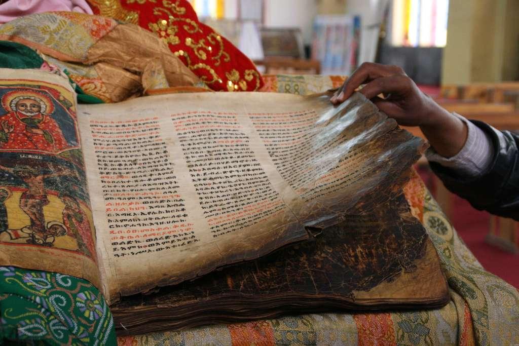 Alte Bibel in Axum, Äthiopien